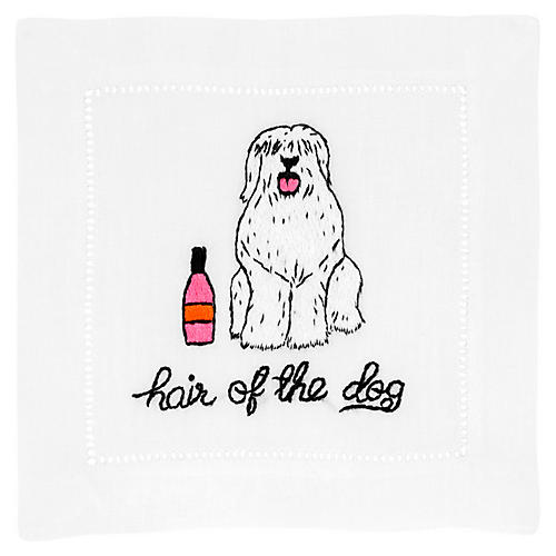 S/4 Hair of the Dog Cocktail Napkins, White/Multi