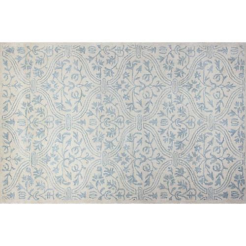 Istres Wool-Blend Rug, Ivory/Blue