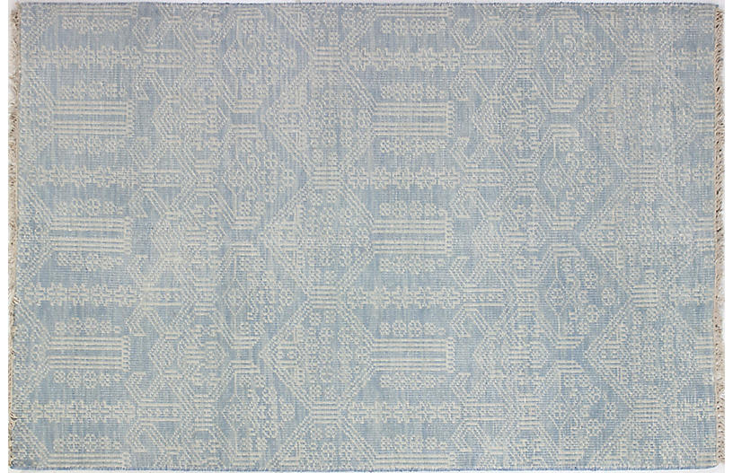Candace Hand-Knotted Rug, Light Blue