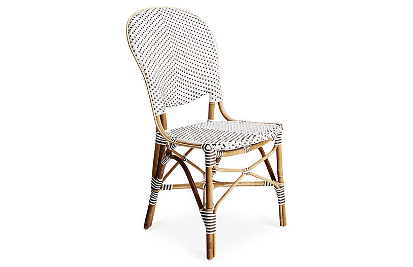 Brigitte Side Chair, White/Cappuccino