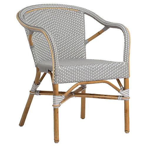 Madeleine Outdoor Bistro Armchair, Gray