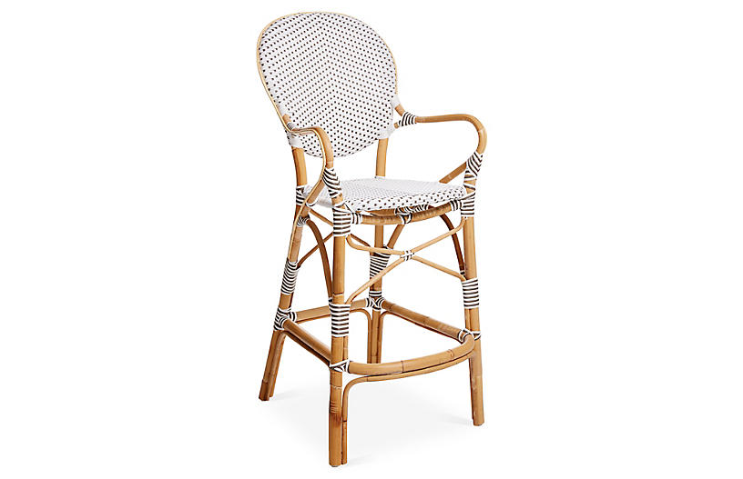 Isabell Rattan Barstool, White/Cappuccino