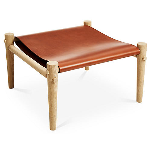 Toulouse Footstool, Whiskey Leather