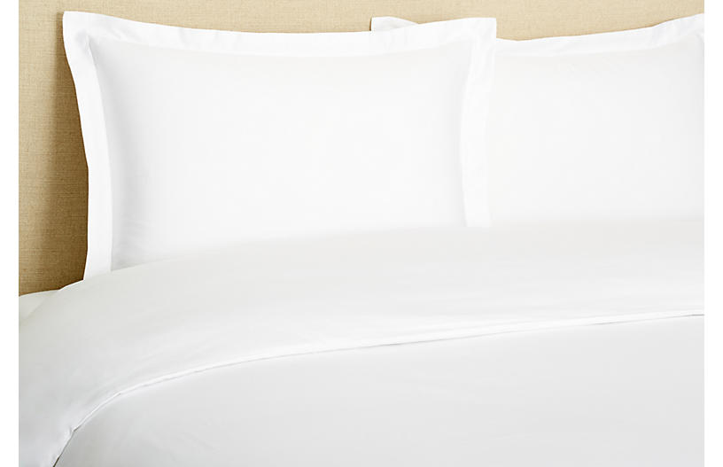 Hemstitch Duvet Set, White