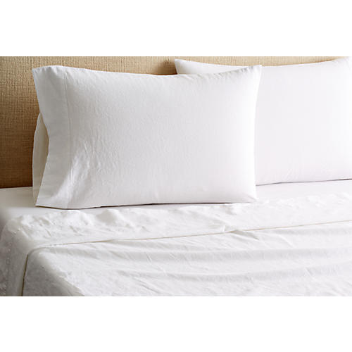 Linen-Blend Hemstitch Sheet Set, White