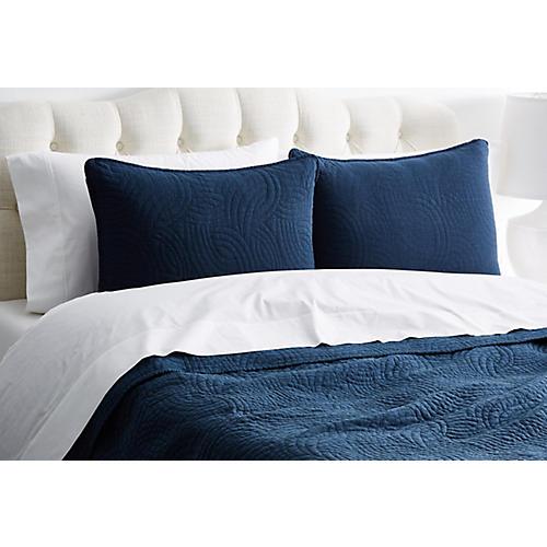 Swirl Quilt Set, Blue