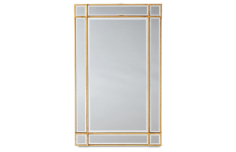 Inlay Frame Mirror, Gold/Mirrored