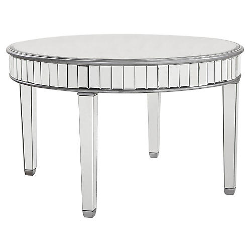 """Mirrored 48"""" Round Dining Table, Silver"""