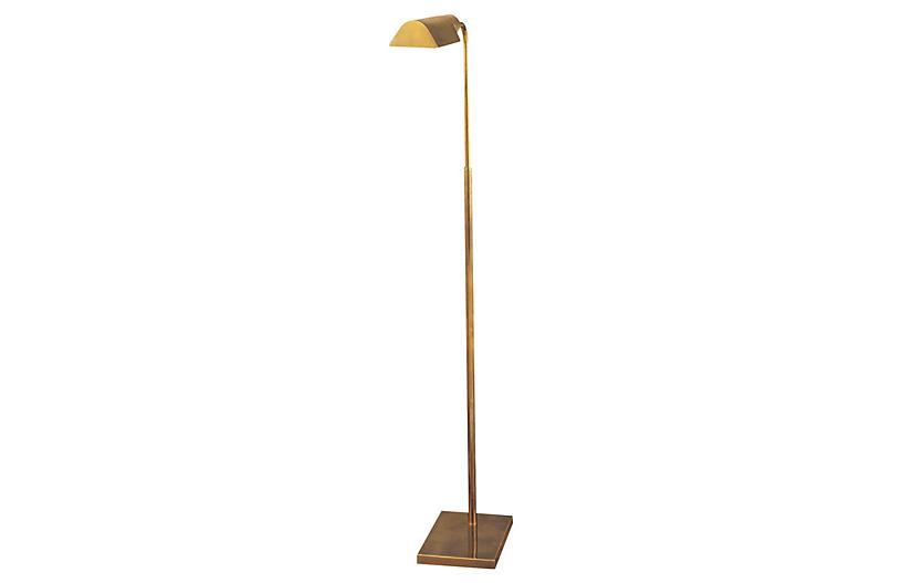 Library Floor Lamp, Antique Brass