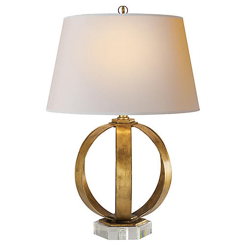 Metal-Banded Table Lamp, Gilded