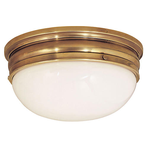 Crown Large Flush Mount, Antiqued Brass