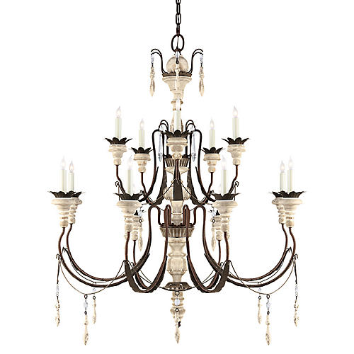 "Percival 38"" Chandelier, Rust"