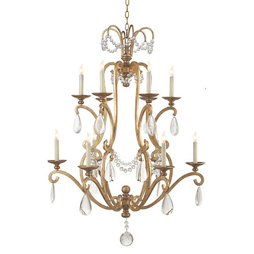 Large Orvieto 10-Light Chandelier, Gild