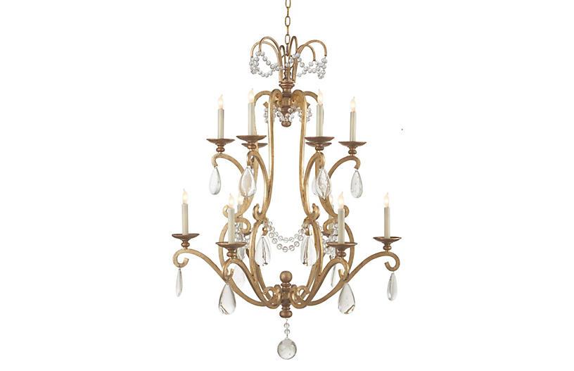 Large Orvieto 10-Light Chandelier, Gild