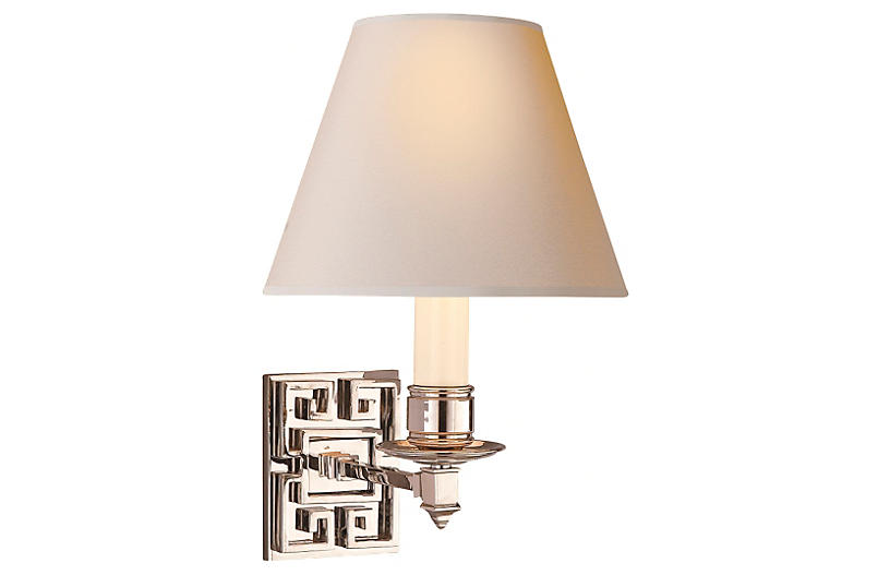 Abbot Single Arm Sconce, Polished Nickel