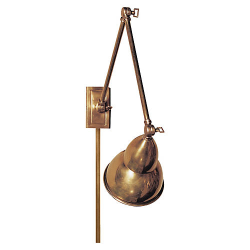 French Library Double Wall Lamp, Brass