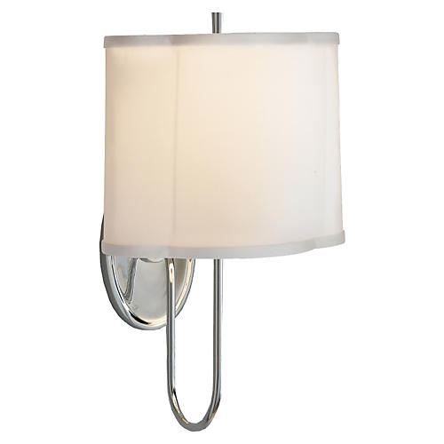 Simple Scallop Wall Sconce, Nickel