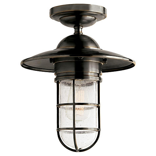 Marine 1-Light Flush Mount, Bronze