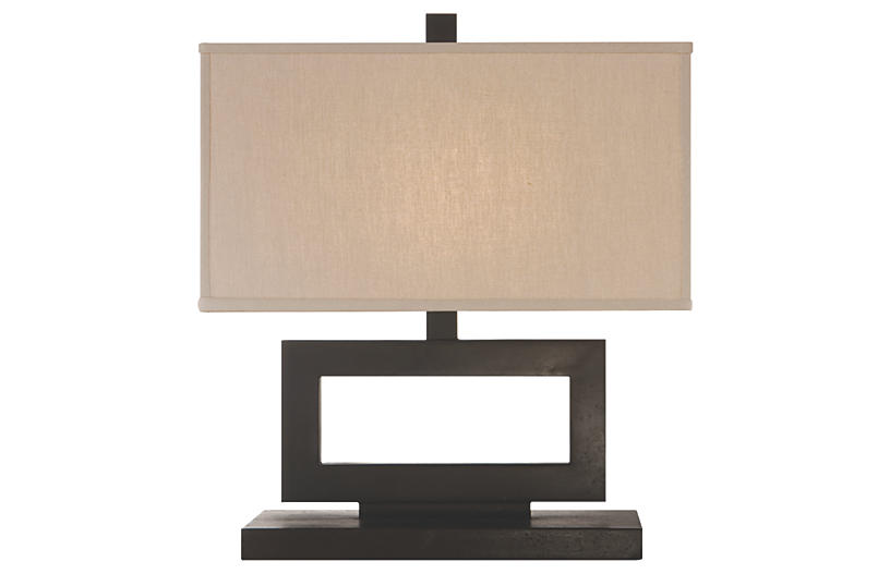 Low Mod Table Lamp, Aged Iron