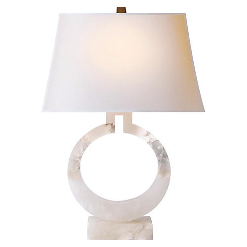 Ring-Form Table Lamp, Alabaster
