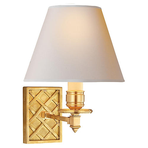 Gene Single Arm Sconce, Natural Brass