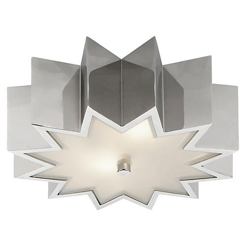 Odette Flush Mount, Polished Nickel