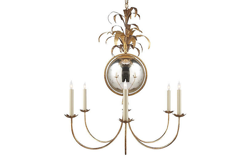 Gramercy Medium Chandelier, Gilded Iron