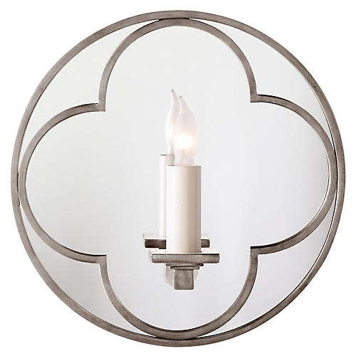 Quatrefoil Round Mirrored Sconce, Nickel