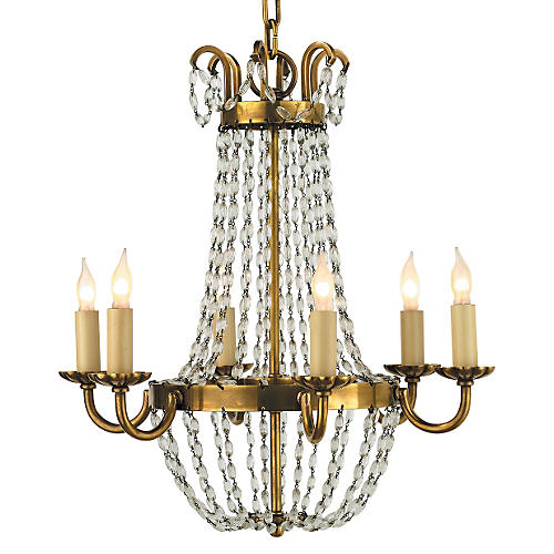 Paris Flea Market Chandelier, Brass