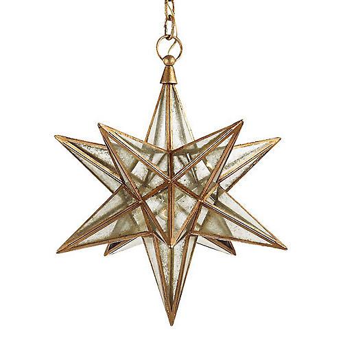 Moravian Star Pendant, Gilded Iron