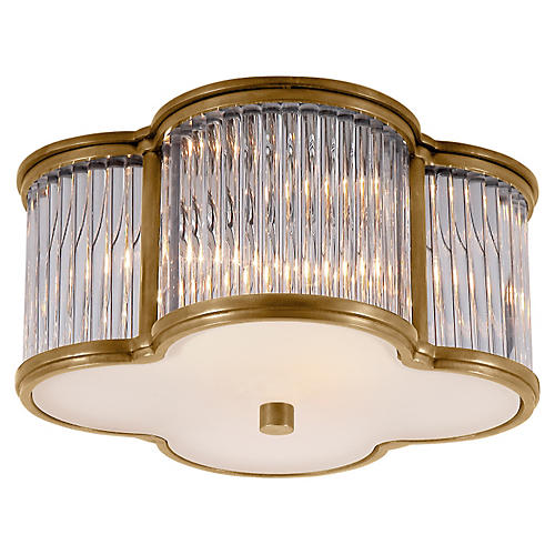 Basil Small Flush Mount, Brass