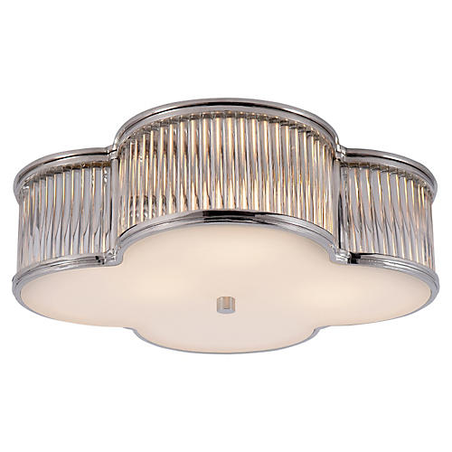 "Basil 17"" Flush Mount, Polished Nickel"