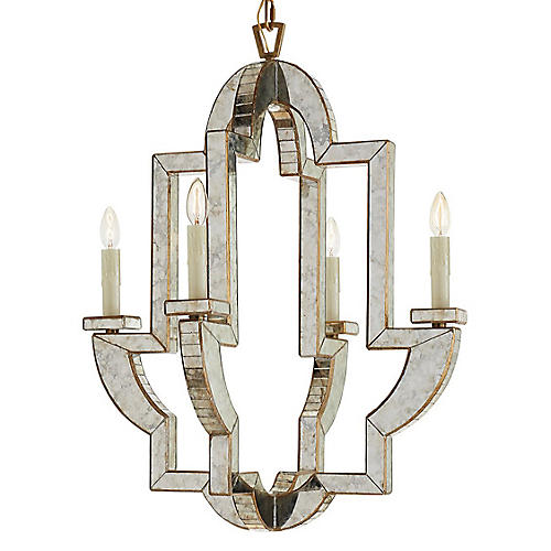 Lido Medium Chandelier, Antiqued Mirror