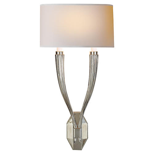 Ruhlmann Double Sconce, Polished Nickel