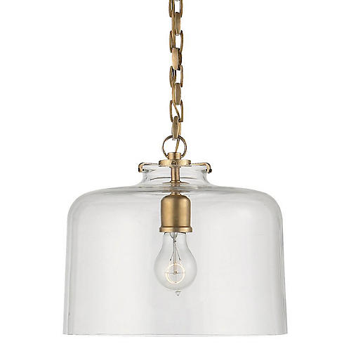 Katie Dome Pendant, Antiqued Brass