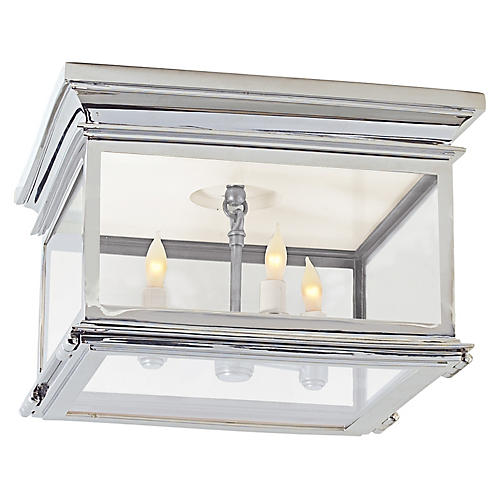 Club Square Flush Mount, Polished Nickel