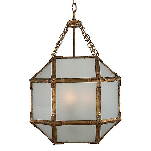 Morris Lantern, Antiqued Gold/Frosted
