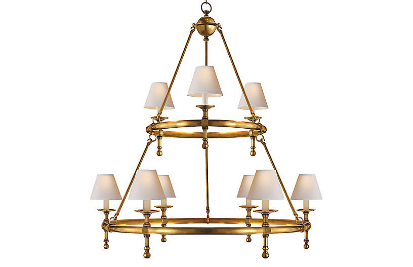 Classic Ring Chandelier, Antiqued Brass
