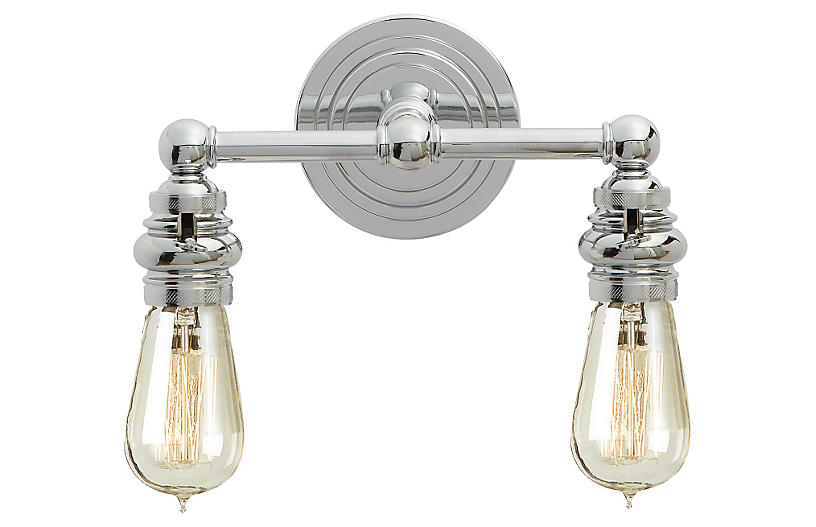 Boston Exposed 2-Light Sconce, Chrome