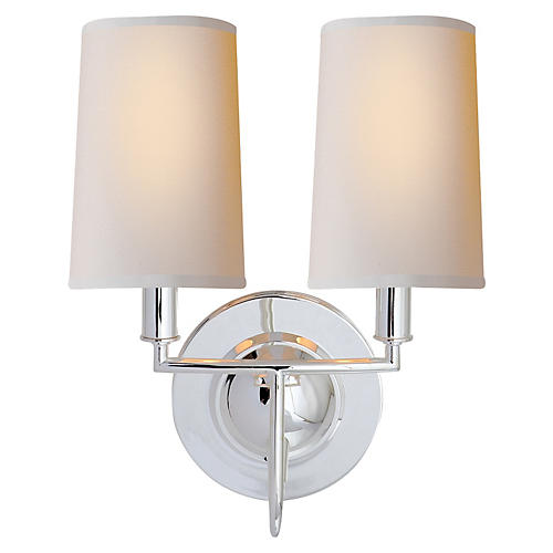 Elkins Double Sconce, Polished Silver