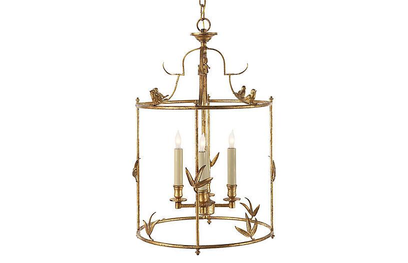 Diego Perching-Bird Lantern, Gilded Iron