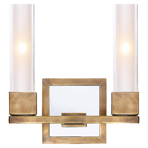 Kendal Double Sconce, Antiqued Brass