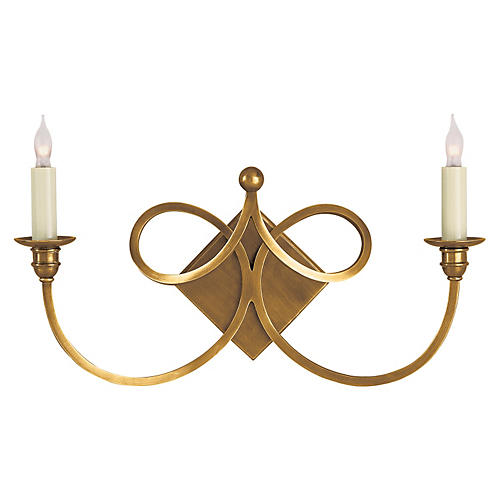 Double Twist Sconce, Antiqued Brass
