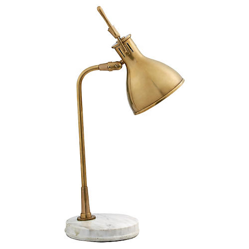 Enrico Marble Lamp, Antiqued Brass