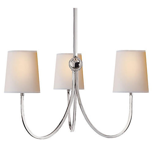 Reed Chandelier, Polished Nickel