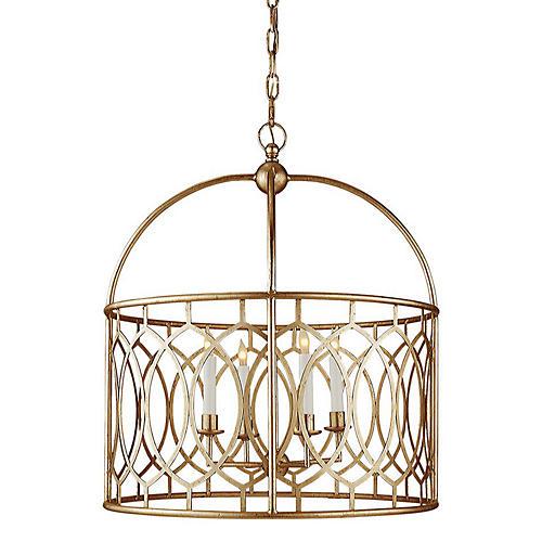 Marquise Wide Lantern, Gilded Iron