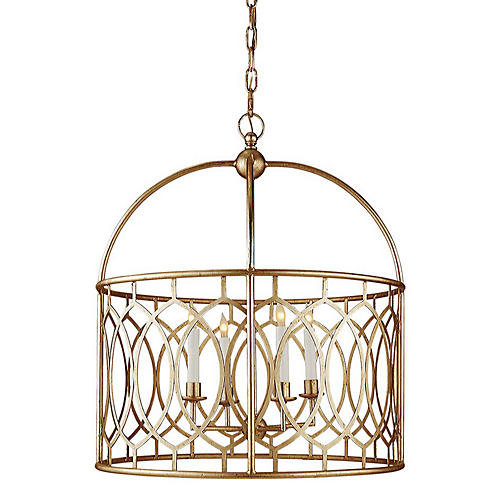Marquise Wide Lantern, Gilded Iron