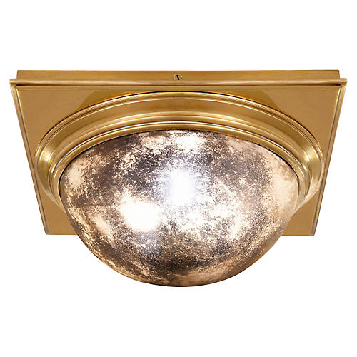 Venice Square Flush Mount, Brass