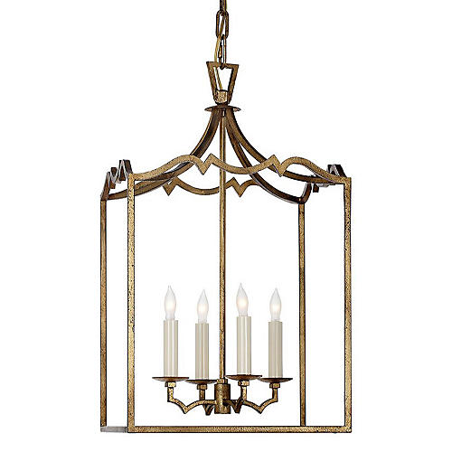 Darlana Small Fancy Lantern, Gilded Iron