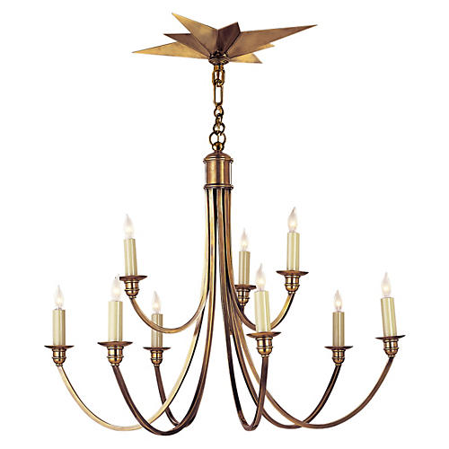 Venetian Chandelier, Antiqued Brass